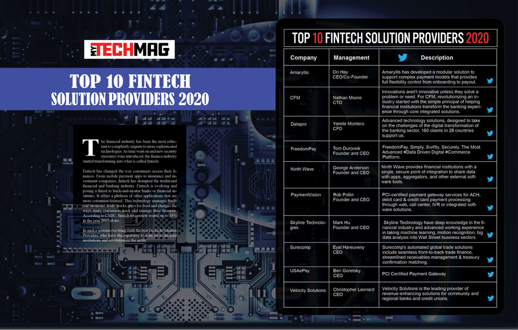 Top 10 Fintech Solution Providers 2020