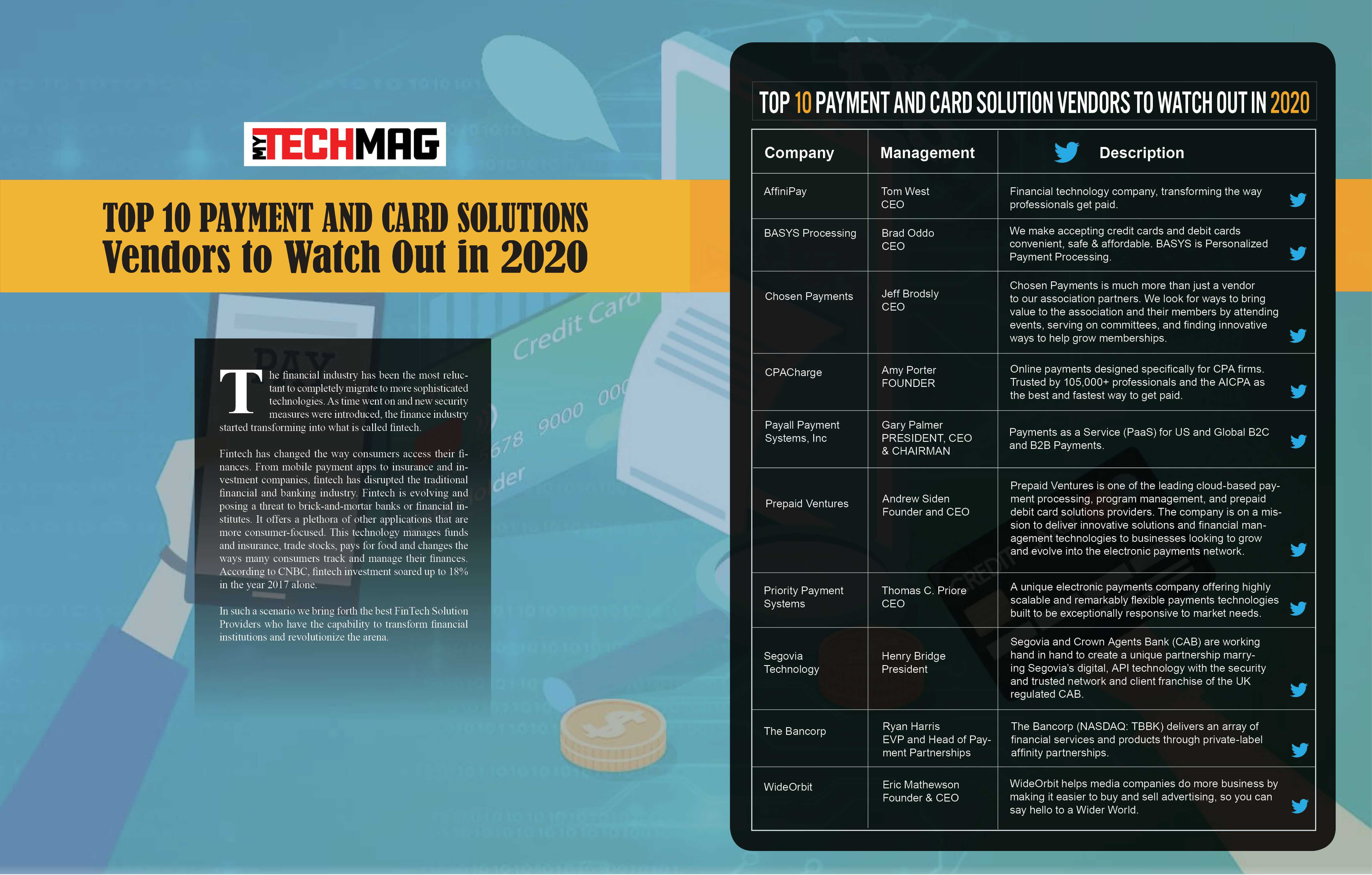 Top 10 Payment and Card Solution Vendors 2020